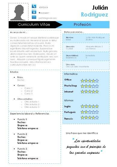 Plantilla azul para CV