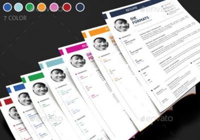 plantilla disponible en 7 colores para curriculum