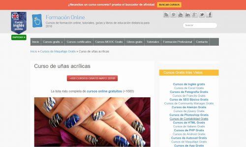 formación online gratis de uñas de gel o acrílicas